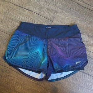 Black Medium Asics Running Shorts with Blue & Pink